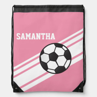 Pink Soccer Stripes Drawstring Backpack