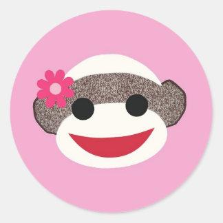 Pink Sock Monkey Flower Girl Classic Round Sticker