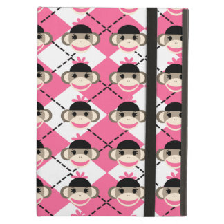 Pink Sock Monkeys on Pink White Argyle Diamond iPad Air Cover