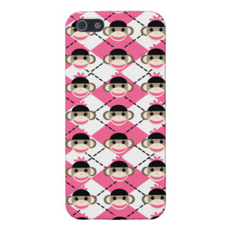 Pink Sock Monkeys on Pink White Argyle Diamond iPhone 5 Case