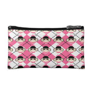 Pink Sock Monkeys on Pink White Argyle Diamond Makeup Bag