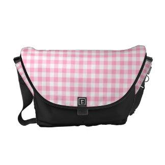 Pink Soda Gingham Check Black Trim Messenger Bag