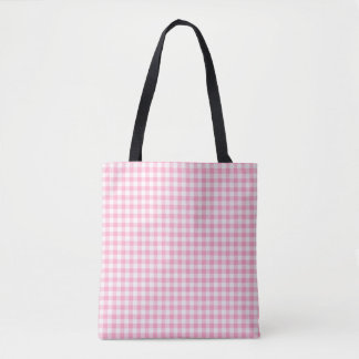 Pink Soda Gingham Check Pattern Tote Bag