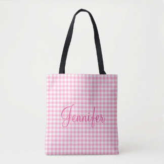 Pink Soda Gingham Check Personal Monogram Tote Bag