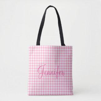 Pink Soda Gingham Check Personal Monogram Tote Bag