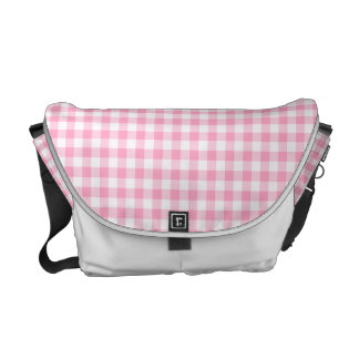 Pink Soda Gingham Check White Trim Messenger Bag