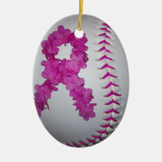 Pink Softball and Awareness Flower Ribbon Double-Sided Oval Ceramic Christmas Ornament