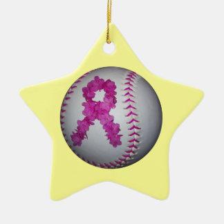 Pink Softball and Awareness Flower Ribbon Christmas Ornament