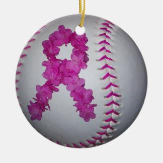Pink Softball and Awareness Flower Ribbon Round Ceramic Decoration