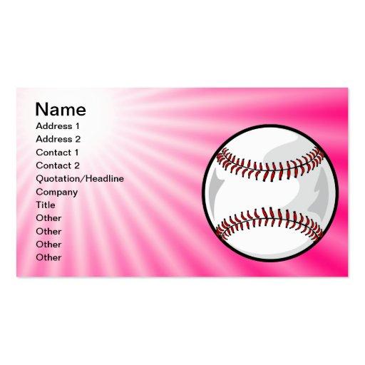 Pink Softball Business Card