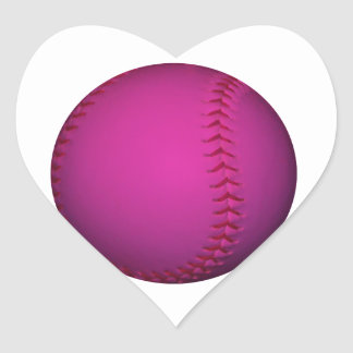Pink Softball Heart Stickers