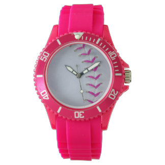 Pink Softball Stitches Watch