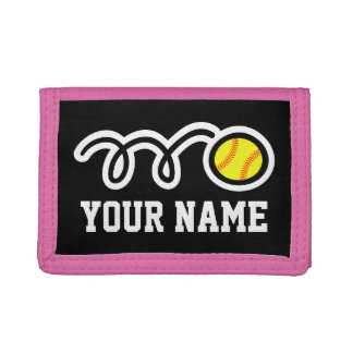 Pink softball wallet for girl | Sporty kids design