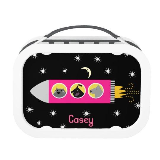 Pink Spaceship Dog & Cat Lunch Box