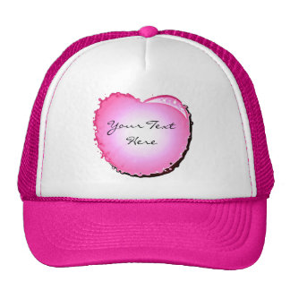 Pink Sparkle Bubble Heart Mesh Hat