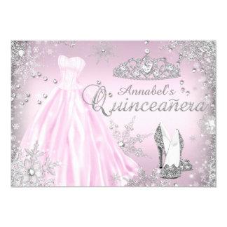 Pink Sparkle Dress Tiara Quinceanera 13 Cm X 18 Cm Invitation Card