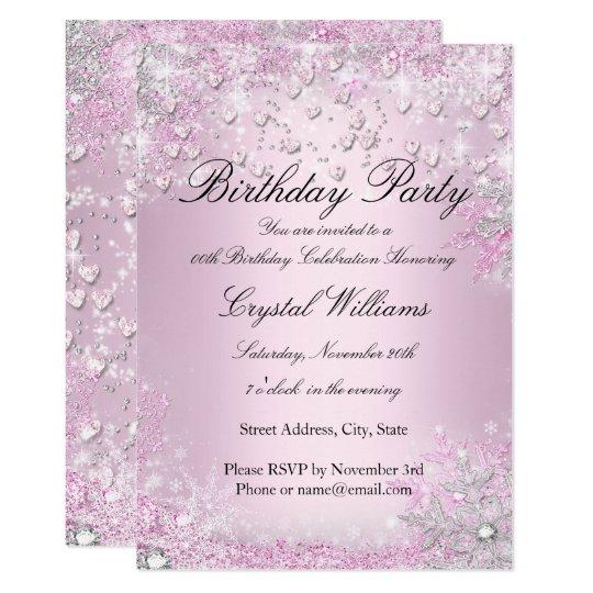 Pink Sparkle Hearts Birthday Invitation