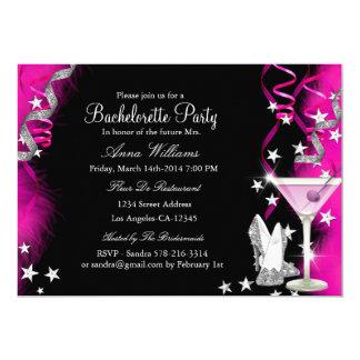 Pink Sparkle Heels & Cocktail Bachelorette Party 2 13 Cm X 18 Cm Invitation Card