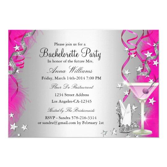 Pink Sparkle Heels & Cocktail Bachelorette Party Card