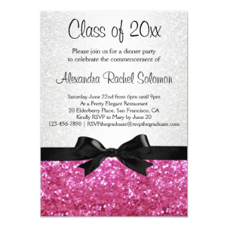 Pink Sparkle-look Bow Graduation Invitation