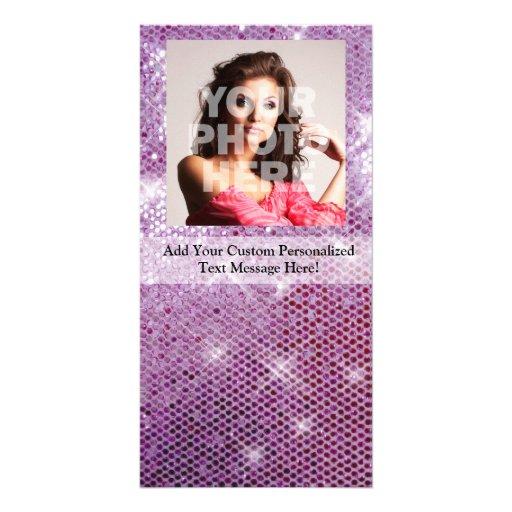 Pink Sparkle-Look Custom Photo Card