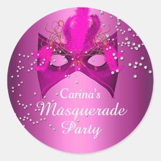 Pink Sparkle Masquerade Party Sticker