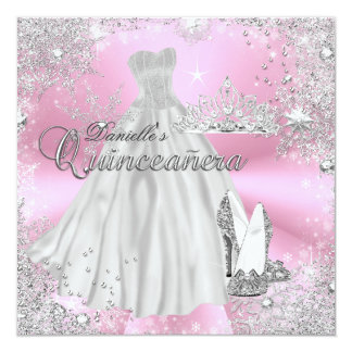 Pink Sparkle Snowflake Quinceanera Invitation