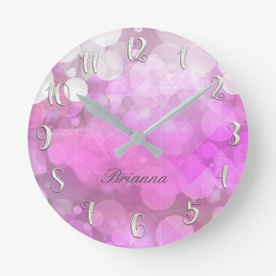 Pink Sparkle Sparkly Glitter Bokeh Girly Custom Round