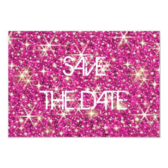 Pink sparkle starry glitter save the date card
