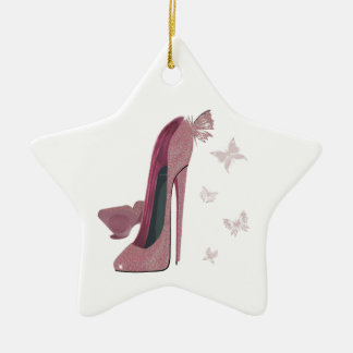 Pink Sparkle Stiletto and Butterfly's Art Christmas Ornament