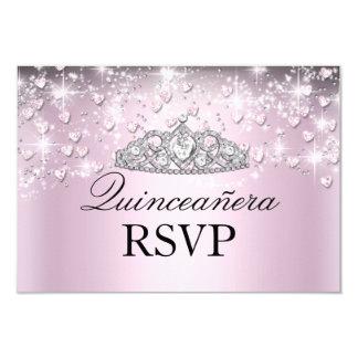 Pink Sparkle Tiara & Hearts Quinceanera RSVP 9 Cm X 13 Cm Invitation Card