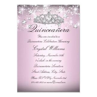 Pink Sparkle Tiara Stars Quinceanera Invite