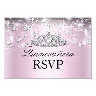 Pink Sparkle Tiara Stars Quinceanera RSVP Card