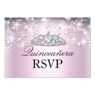 Pink Sparkle Tiara & Stars Quinceanera RSVP 3.5x5 Paper Invitation Card