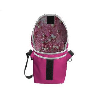 Pink Sparkles and Love Hearts Messenger Bag