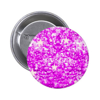 Pink sparkles glitter and stars button