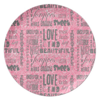 Pink Sparkles One-of-a-kind LOVE Typography Party Plate