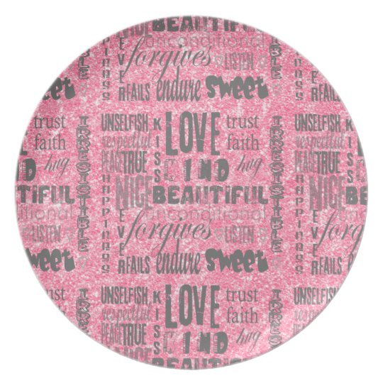 Pink Sparkles One-of-a-kind LOVE Typography Plate