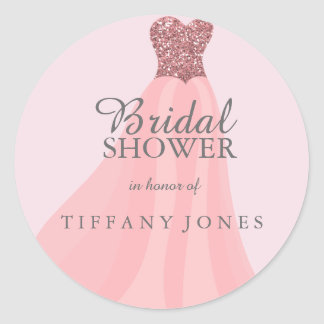 Pink Sparkling Glitter Gown Dress Bridal Shower Round Sticker