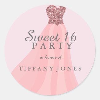 Pink Sparkling Glitter Gown Sweet 16 Party Round Sticker
