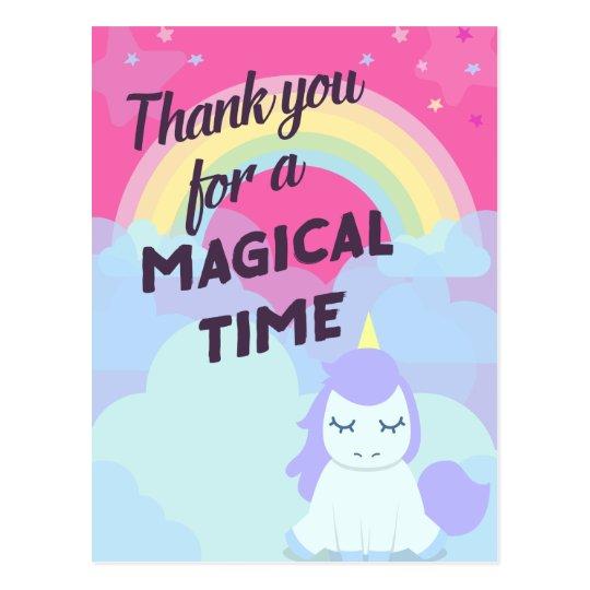Pink sparkling magical rainbow unicorn thank you postcard