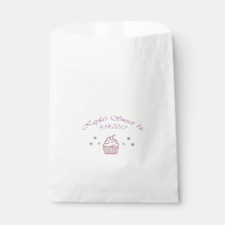 Pink Sparkly Birthday Cupcake Favor Bags