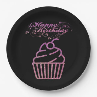 Pink Sparkly Birthday Cupcake Paper Plates