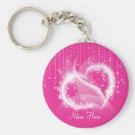 Pink Sparkly Hearts Keychain
