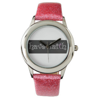 Pink Sparkly Strap Have Faith Watch