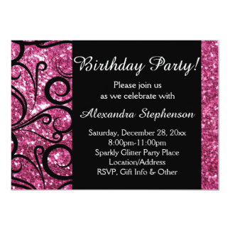 Pink Sparkly Swirl Women's Birthday Party Custom Announcements