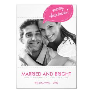 Pink Speech Bubble Newlywed Christmas Photo Card 13 Cm X 18 Cm Invitation Card