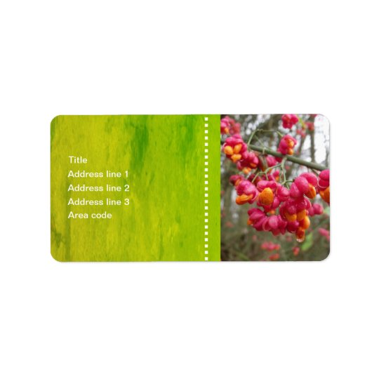 Pink Spindle Flowers Address Labels