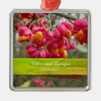 Pink Spindle Fruit/ Flowers Personalized Wedding Christmas Ornament