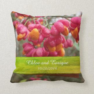 Pink Spindle Fruit/ Flowers Personalized Wedding Cushion